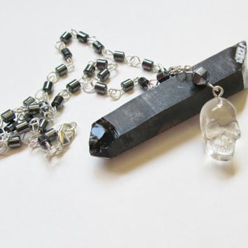 Crystal Skull Necklace, Resin Skull, Hematite Necklace, Unisex Necklace, Mens Skull Necklace, Skull Pendant, Womens Skull Necklace