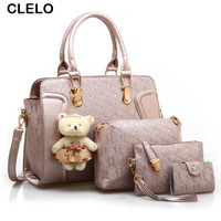 CLELO Designer Handbags Fashion Women Bag Lady PU Leather Messenger Hand Bags Casual Tote Bag Big Shoulder Bags Sac Female