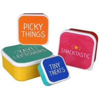 Happy Jackson Set of 4 Plastic Snack Boxes, Plastic Food Containers, Leftovers