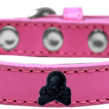 Skull Widget Dog Collar Bright Pink Size 14