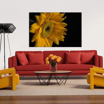 Floral Nature Photograph Sunflower from Left - Fine Art Canvas - Home Decor Unframed Wall Art Prints
