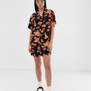 COLLUSION tropical print revere shirt dress | ASOS