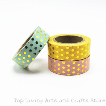 New Dots Foil Washi Tape Scrapbooking Tools Cute Decorative Adhesiva Decorativa Japanese Stationery Washi Tapes Mask