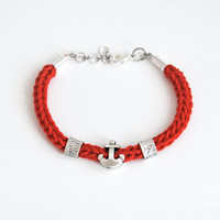 Red anchor bracelet, red bracelet with anchor and tubes, nautical cord bracelet