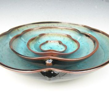 Nesting Bowl Set Made to Order Turquoise by clearmountaincraft