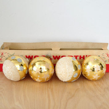 Vintage West German Gold and Glitter Glass Christmas Tree Ornaments , Original Box , Woolworth's , Set of Four , Mid-Century