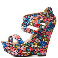 Printed Strappy Platform Wedge Sandals by Charlotte Russe