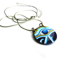 Eye of Horus Amulet - Hand Painted Egyptian Necklace - Egyptian Jewelry - Ancient Egypt Pendant Wearable Art Cobalt Blue Yellow Gold