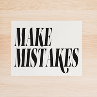 Make Mistakes PRINTABLE Art in Black and White Typography Poster Apartment Art Dorm Decor Home Decor Office Decor Poster
