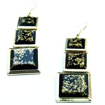 Lucite Gold Flecked Long Earrings