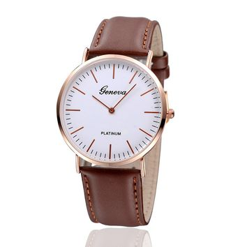 Geneva Brown Leather Strap Watch with Gift Box