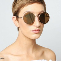 Retro Round Clip On Frame Sunglasses
