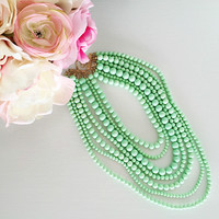 Mint Beaded Layers Necklace