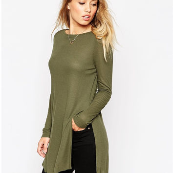 Army Green Long Sleeve Side Slit T-Shirt