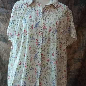 Alfred Dunner Shirt Size 12 Pastel Floral Shirt Light Weight Short Sleeve