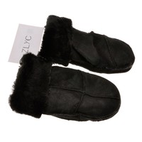 ZLYC Women Classic Hand Sewing Sheepskin Cold Weather Warm Thick Mittens Gloves, Black: 亚马逊中国: ZLYC