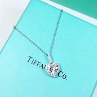 Tiffany Fashion New Love Heart Diamond Sterling Silver Women Necklace Personality Silver