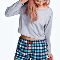 Harriet Slouch Top and Flannel Check Short Set