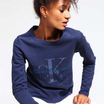 One-nice™ Calvin Klein Printed Womens Casual Long Sleeve Pullovers Sweaters