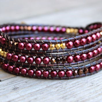Beaded Leather Wrap Bracelet 3 Wrap with Swarovski Pearls Bronze and Gold Nugget Beads on Genuine Brown Leather