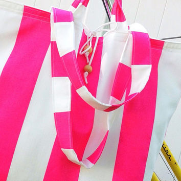 Large TOTE bag - Roll Up Market Tote - Beach Bag - Reusable Grocery Bag - Pink - XL Giant Tote - Pool Bag - Overnight Bag - Nautical Stripe