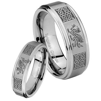 His and Hers Step Edge Multiple Dragon Celtic Tungsten Silver Wedding Rings Set
