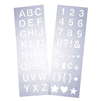 Alphabet Letter & Number Stencil Set, 1-Inch, 2-Sheets