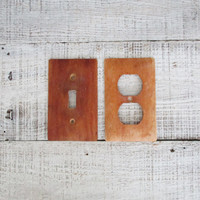 Light Switch Cover and Outlet Cover Mid Century Wooden Light Switch Plate and Outlet Cover Matching Set Industrial Decor Rustic Decor