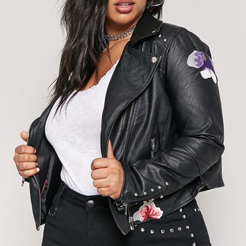 Plus Size Studded Faux Leather Jacket