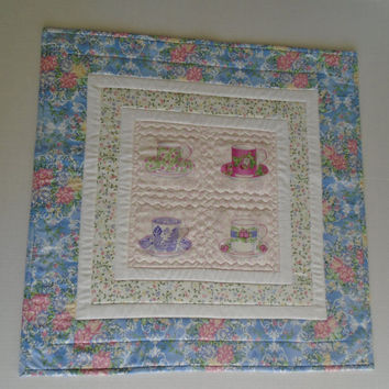 Tea Tea Time Quilted Table Topper, Quilted Table Decor, Table Runner, Tea Cups, Cottage Chic, Vintage Style, Pink Lavender Blue