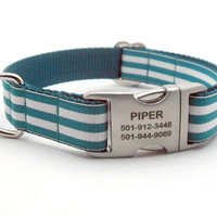 Cabana Stripe Dog Collar With Personalized Buckle - Teal