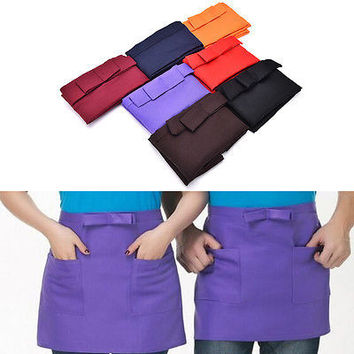 Kitchen Cotton Bow Short Half Waist Apron Bar Pub Cafe Server Waiter Waitress HU