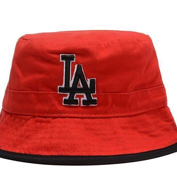 PEAPON Los Angeles Dodgers Full Leather Bucket Hats Red