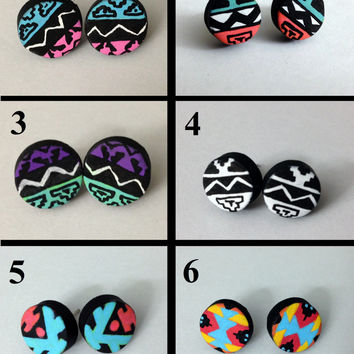 Tribal Earrings Native Print Polymer Clay Stud Handmade - You Pick!