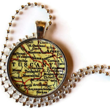 Tuscany Italy necklace map pendant charm, Italy map necklace, Twilight jewelry, Volterra, Italian jewelry