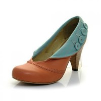 Flourish A3401 Burnt Orange Leather Shoe With A Rounded Toe Shape - Shoes - Heeled from J Shoes Online UK