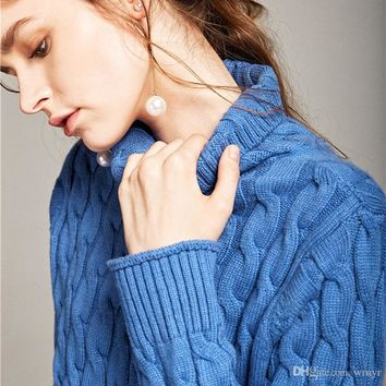 High-end autumn and winter thick pure cashmere sweater twist twisted high-necked sweater ladies twist sweater jacket Europe and the United S