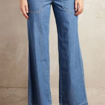 Pilcro Wide-Leg Chambray Jeans in Cattle Club Size: