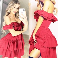 Sexy women's one-shoulder ruffled skirt dress(Only one piece)