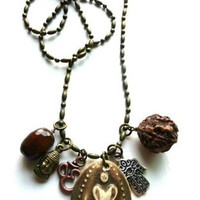 Brown ceramic Om pendant, Hamsa hand, bronze chain necklace. Yoga jewelry.