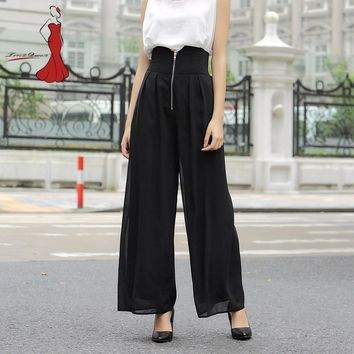 Hot Women's Trousers For Women Trousers In Large Sizes Bell Bottom Women Harem Pants Home Loose Pants Capri Women's Autumn Black
