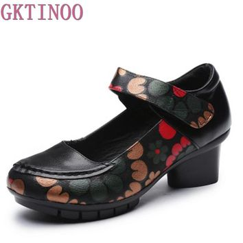 Soft Med Heels Vintage Style Genuine Leather Shoes Personality Casual Women's Pumps Summer Cowhide Retro Floral Handmade Shoes