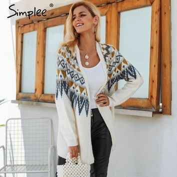 Simplee Fair isle knitted long cardigan female Casual Solid loose autumn sweater coat 2018 Winter gray thick women outwear