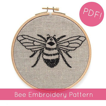 PDF embroidery pattern / Bee hand embroidery design / Includes ombré version / DIY needlecraft