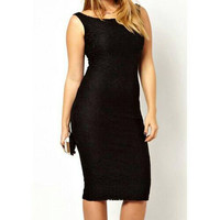 Little Black Dress, Elegant Scoop Neck Sleeveless Black Holiday Cocktail Dress