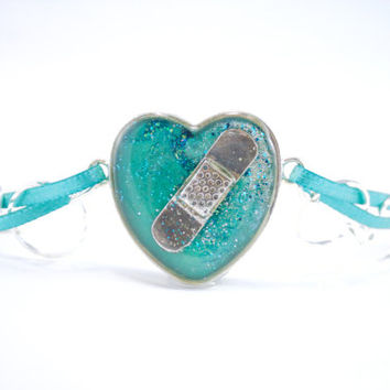 Teal Heart Bracelet, CHD Jewelry, Congenital Heart Defect, Heart Bandaid Bracelet, Gift for Nurse, Gift for Heart Warrior, CHD Gift