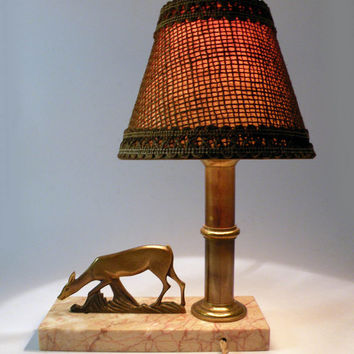 Vintage desk lamp. French desk lamp. Art deco desk lamp. Table lamp. Animal lamp. Vintage lamp. Mood lamp. French vintage lamp