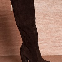 Anne Michelle Straight Forward Fashion Tall Gold Zipper Back Cone Heel Boots Mozza-04 - Brown