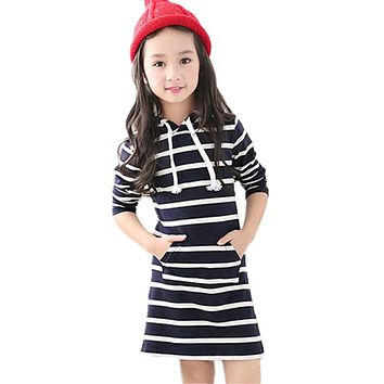 Spring Autumn Striped Girl Dress Casual Long Sleeve Infantil Children Clothing Hooded Vestidos Baby Dresses Kids Clothes 3-13Y