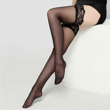 Sexy Lace Silk Stockings Over Knee Tight High Socks Medias Stocking Female Pantyhose Free Shipping